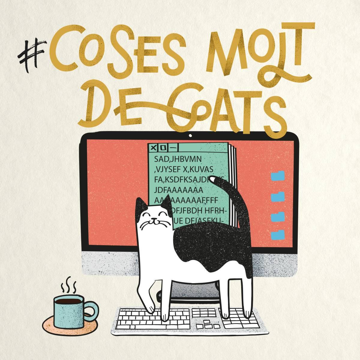 dibujo-gato en teclado ordenador